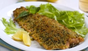 Fish fillet wrapped in basil crust