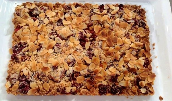 Cherry and almond crumble