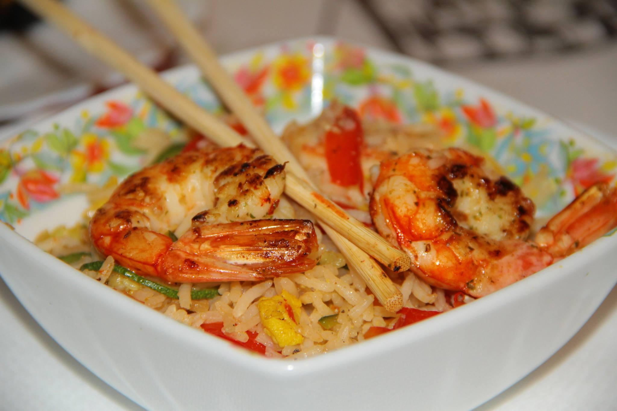 orez cu creveti si legume